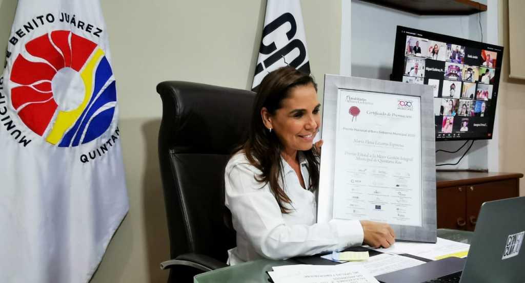 Recibe Mara Lezama premio nacional por 'Mejor gestión integral municipal de Quintana Roo'